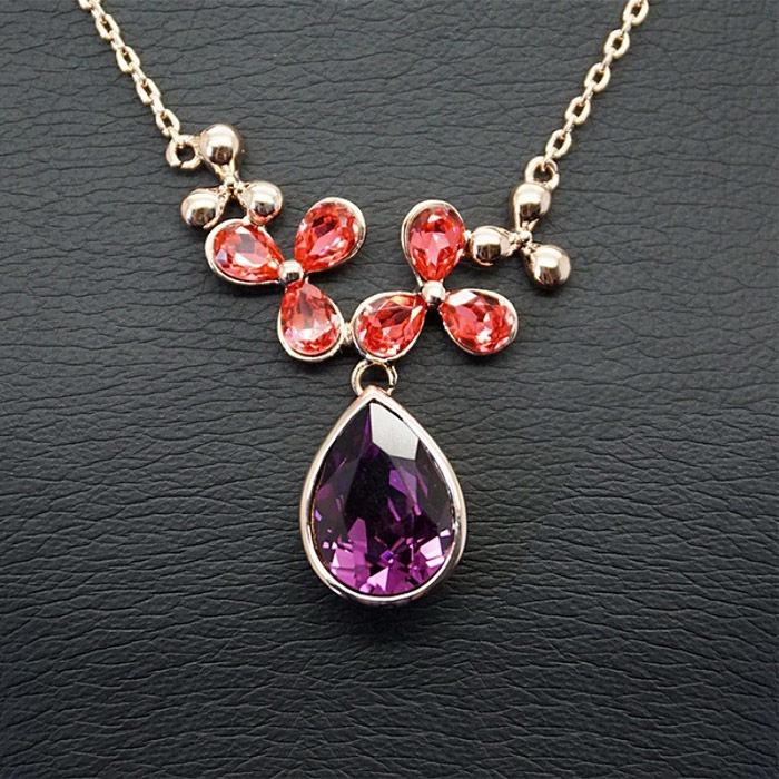 Diamond Sky Pendant Celestial Magic Fuchsia With Swarovski Crystals