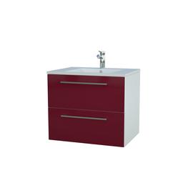 Apatinė spintelė su praustuvu 61 cm, 2 stalčiai, blizgiai raudona