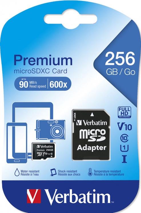 Verbatim Premium 256GB microSDXC UHS-I Class 10 w/Adapter