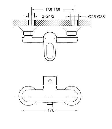 Ūdens maisītājs dušai Thema Lux L-1105