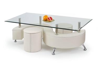 Kavos staliukas Nina 3H su dviem pufais, 130 x 70 x 55 cm
