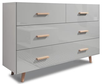 Kumode Vivaldi Meble Sweden White/Grey Gloss, 125x35x79.6 cm