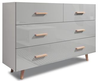 Komoda Vivaldi Meble Sweden White/Grey Gloss, 125x35x79.6 cm