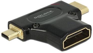 Delock Adapter HDMI-micro to HDMI-mini to HDMI Black