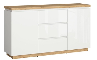 Komoda Black Red White Erla KOM2D2S White/Oak, 158x41x88.5 cm