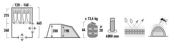 Palapinė High Peak Benito 4 11805 Grey