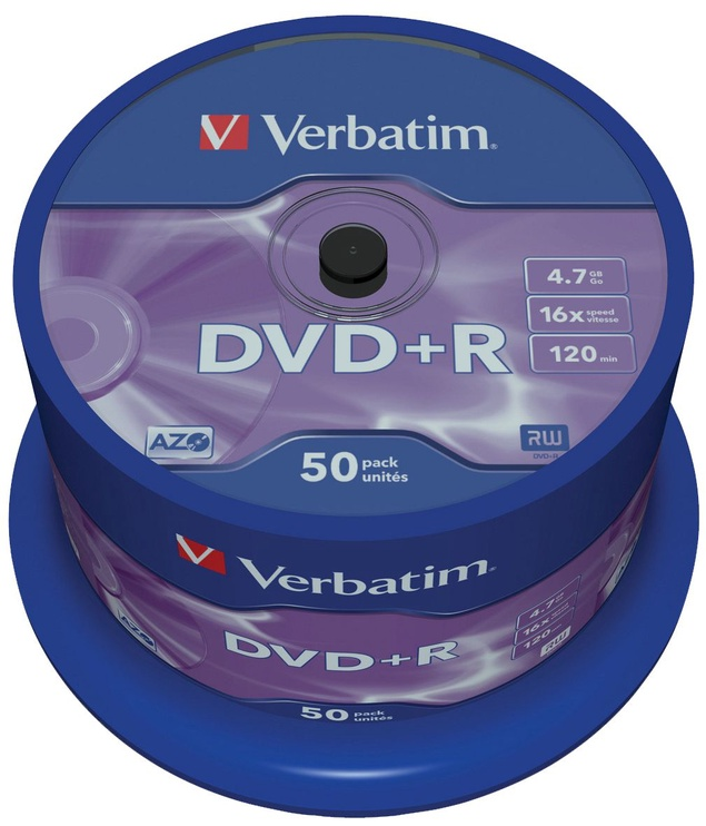 Verbatim DVD+R 16X 4.7GB 50P Matte Silver AZO Cake Box