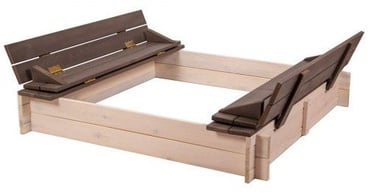 Smėlio dėžė Folkland Timber White/Graphite, 140x140 cm, su dangčiu