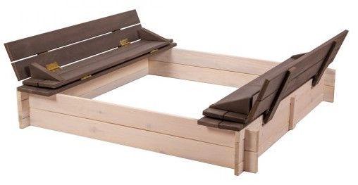 Folkland Timber Sandbox Four Corner With Foldable Lid White/Graphite