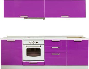 Virtuvės baldų komplektas MN Prestiz Purple, 2.4 m