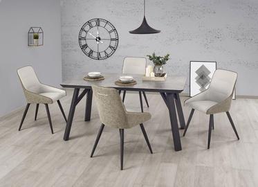 Valgomojo stalas Halmar Halifax, juodas/pilkas, 1600x900x760mm