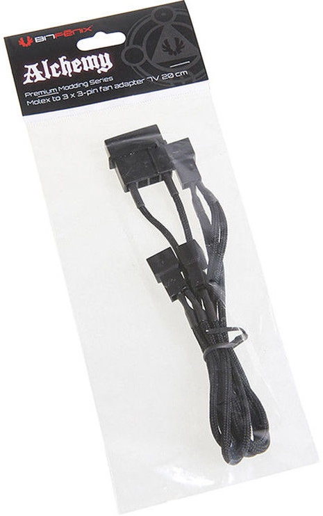 BitFenix 4-Pin to 3 x 3-Pin Cable Black