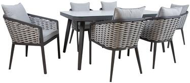 Sodo baldų komplektas Home4you, pilkas, 6 vietų