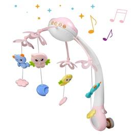 Ночная лампа с колокольчиками для детской кроватки (розовая)