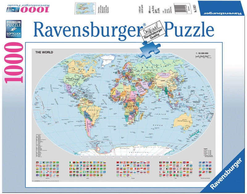 The Picture Of The World Map.Ravensburger Puzzle Political World Map 1000pcs