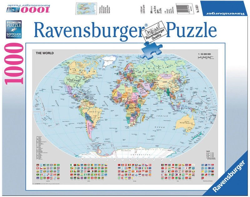 Ravensburger Puzzle Political World Map 1000pcs Senukai Lt