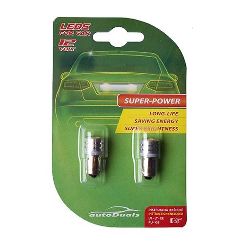 AutoDuals 1SMD-LED Ba9s Light Bulb White 2pcs