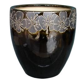 TDS Ceramic Indoor Plant Pot IPA8-125N/2 Black