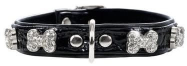 Hunter Collar Modern Art Fashion Kroko Bone 40 Black