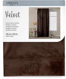 AmeliaHome Velvet Pleat Curtains Dark Brown 140x270cm