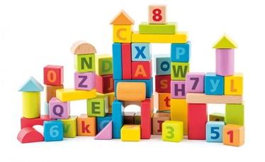 Klucīši Woody Colored With Alphabet 91842, 60 gab.