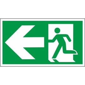 Exit Left Sign Sticker 230x130mm Green/White