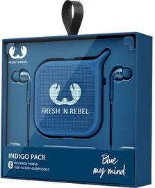Fresh 'n Rebel Vibe In-Ear Earphones + Rockbox Pebble Indigo
