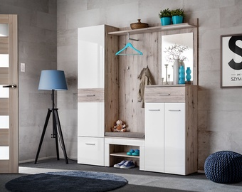 ASM Gustavo III Wardrobe With Pillow Wellington Oak/Gloss White