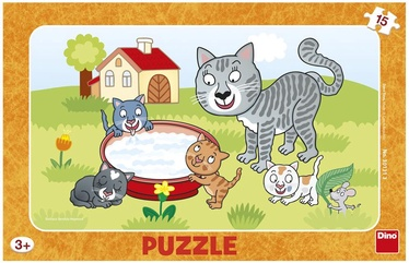 Puzle Dino Small Puzzle In Frame Cats, 15 gab.