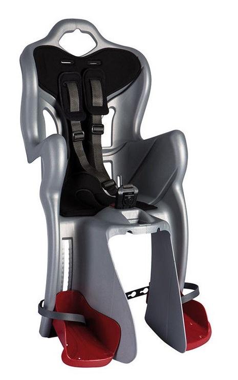 Детское кресло для велосипеда Bellelli B-One Standard B-Fix F22193, серебристый/черный, задняя