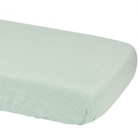 Lodger Slumber Solid Sheet With Rubber Silt Green 70x140