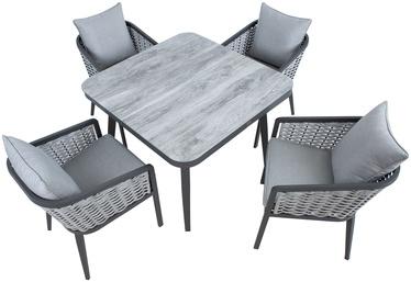 Sodo baldų komplektas Home4you, pilkas, 4 vietų