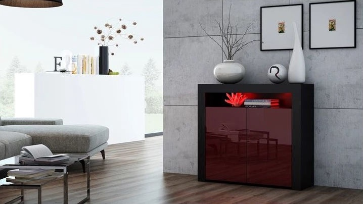Kumode Pro Meble Milano With Light Black/Red, 107x35x97 cm