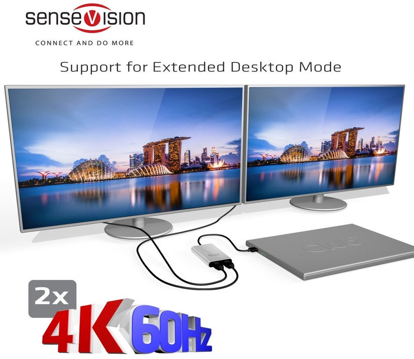 Club 3D SenseVision Thunderbolt3 To Dual Displayport1.2 Adapter