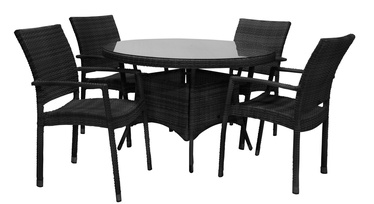 Home4you Wicker Garden Table And 4 Chair Set Black