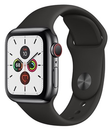 Išmanus laikrodis Apple Watch Series 5 40mm GPS Space Black Stainless Steel Case with Black Band Cellular