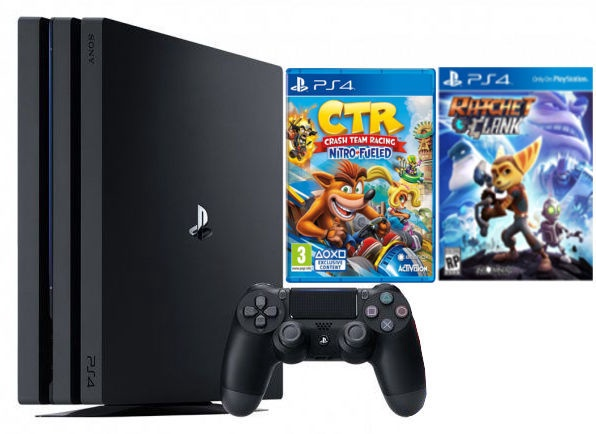 Sony Playstation 4 (PS4) Slim 1TB Black + Crash Team Racing + Ratchet Clank