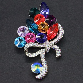 Diamond Sky Brooch Spring Bouquet II With Swarovski Crystals