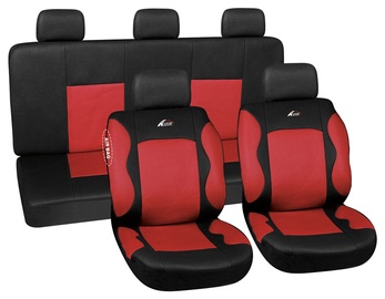 Autoserio Seat Cover Set AG-28685 9pcs Black/Red