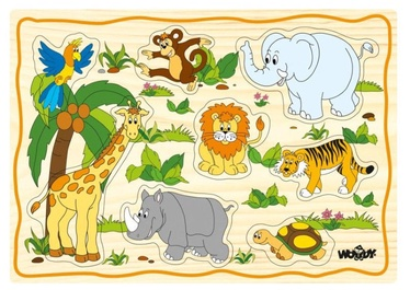 Woodyland Educational Puzzle Set Exotic Animals 12pcs 90252
