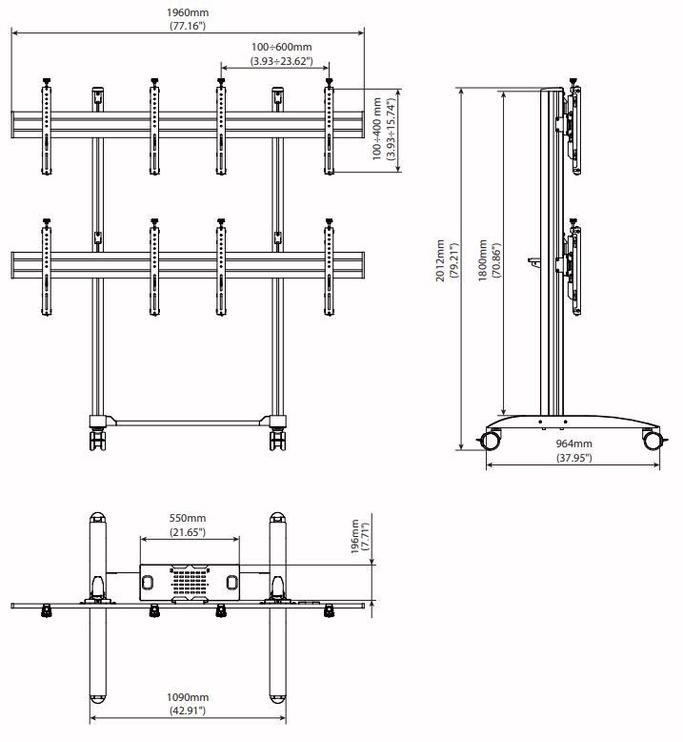 "edbak VWTA2247-L Trolley Video Wall 42-47"""