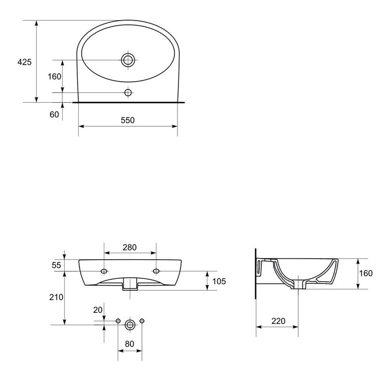 Раковина Cersanit Parva 55 550x425mm White