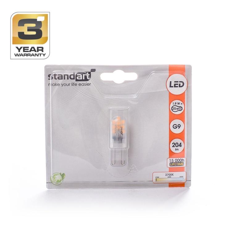 Spuldze led Standart T4, 1,9W, G9, 2700K, 204lm