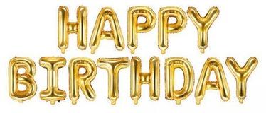 PartyDeco Фольгированный шар, 340 x 35 см, золото / Happy Birthday