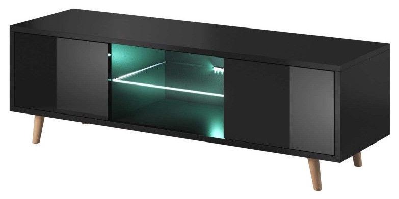 TV galds Vivaldi Meble Sweden 1, melna, 1400x420x450 mm
