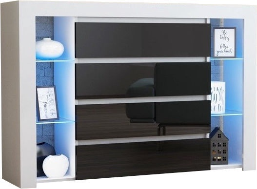 Kumode Pro Meble Milano 4SZ With Light White/Black, 140x35x104 cm