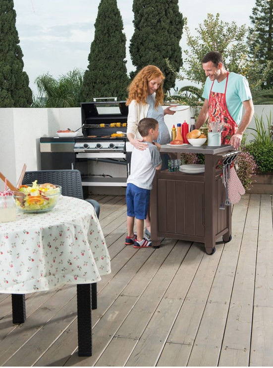 Stalas Keter Barbecue Prep n' Serve 105L Grey