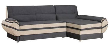 Bodzio Livonia Right Corner Folding Sofa Velor Dark Gray/Cream