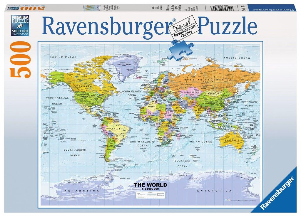 Map Of The World Picture.Ravensburger Puzzle Political Map Of The World 500pcs