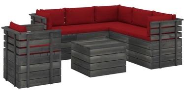 Комплект уличной мебели VLX Garden Pallet Lounge Set 3061920, красный/коричневый, 6 места